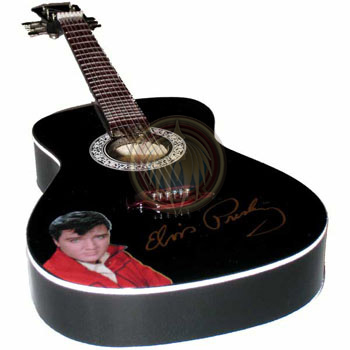 Miniature guitar acoustic black with Elvis picture