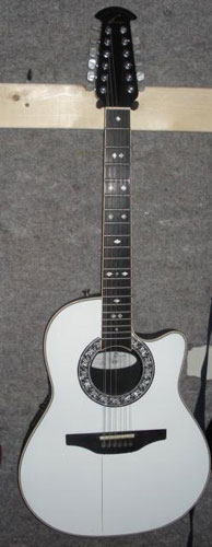 Miniature Guitar acoustic  White Ovation Legend 12 string.