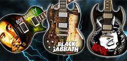 Miniature guitars Cover Album Bob marley, miniature guitar Black Sabbath and ACDC